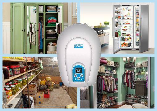 Очистка озонатором воздуха в различных помещениях, холодильниках и шкафах.